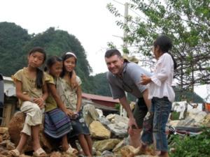 Tim with Village kids