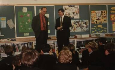 Me (right) introducing my studenst to my Uncle Rev Tim Costello to my Carey students in 1994